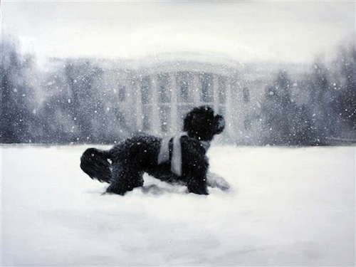 Above is this year's White House Christmas card featuring a painting of the fab Bo Obama taking a stroll through the snow. Iowa artist Larassa Kabel's painting depicts a snow-covered Bo running across the White House's North Lawn, an homage to the 2010 snapshot below, which caught the 4-year-old playing in the snow during a February blizzard.